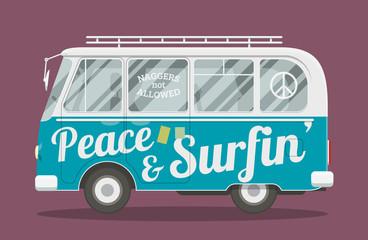 Surfers hippie van