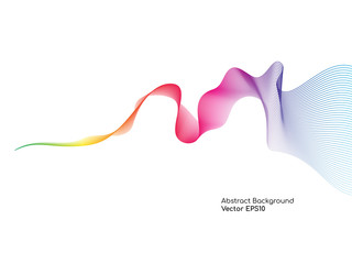 Abstract colorful wavy lines smooth curve isolated on white background for design elements in concept technology, science, music, modern