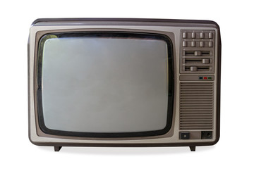 vintage television on isolated white with clipping path.