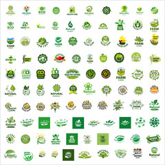 set of vector logos healthy food