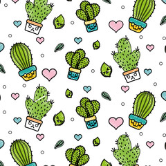 doodle kawaii cactus plant with heart and leaves background