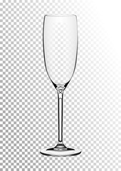 Vector illustration of a wine glass for champagne or sparkling wine in photorealistic style. A realistic object on a transparent background. 3D Realism