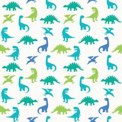 Blue Green Dinosaur Silhouette Seamless Pattern Vector Illustration