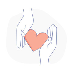 Hands touch each other and red heart, receive or accept love icon, kindness, care, help, donation or hope. Charity, philanthropy, volunteering or assistance vector symbol. Modern line design concept.
