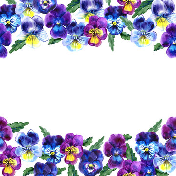 Boarder with hand drawn pansy flowers. Purple, violet, yellow with green leaves. Retro background with romantic flowers. Perfect frame for wedding and birthday cards, invitations