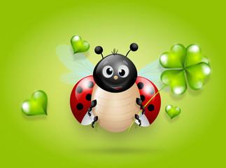 Ladybug with green clover