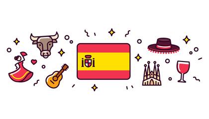 Spain symbols banner illustration