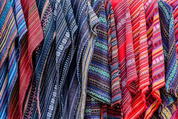 Multicolor textile and fabrics on the market at Doi Ang Khang, Chiang Mai, Thailand.