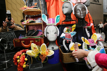 A street stand selling bunny ears is photographed at the annual Easter Parade and Bonnet Festival in the Manhattan borough of New York City