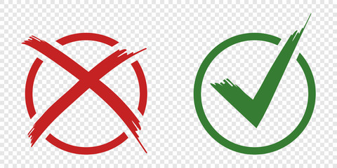 Acceptance and rejection symbol vector buttons for vote, election choice. Circle brush stroke borders. Symbolic OK and X icon isolated on white.Tick and cross signs, checkmarks design.
