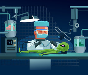 Scientist doctor man character dissects alien UFO lying on table dead body corpse and making surgical operation on internal organs. Scientific tests and experiments. Vector flat cartoon illustration