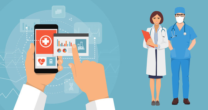 hand and smartphone doctor with the Internet for the design concept, medical new technology of the future, online registration at the hospital, people from the hospital, doctor and nurse
