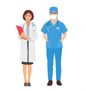people from hospital, medical staff, doctor in mask or surgeon and nurse, isolated vector characters