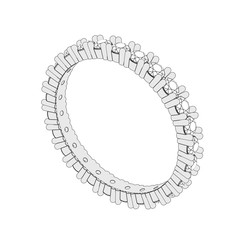 3D illustration isolated sketch eternity band diamond ring