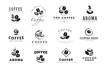 Vector collection of hand drawn coffee logo design elements isolated on textured background. Coffee shop craft emblem, company insignia template, banner, print, etc.