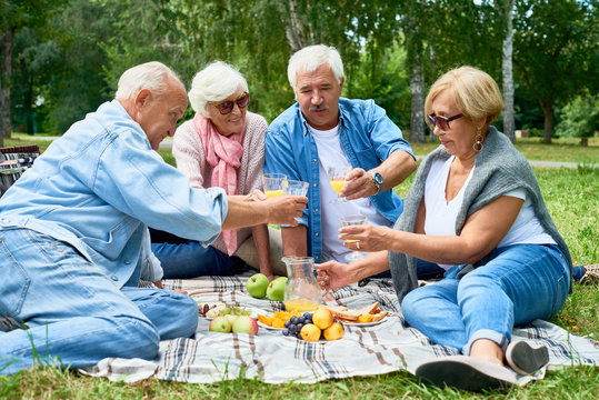 Full length portrait of happy senior people enjoying picnic on green lawn in park chatting and laughing happily on sunny summer day