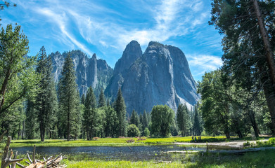 Forest, lakes and rivers of the Yosemite Valley. Yosemite National Park, California, USA. Journey to the Southwest of the USA