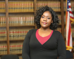 Portrait of a successful African American woman. Woman Lawyer in Law Office