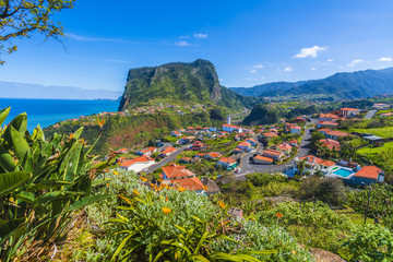 Wall Mural - View of  Sao Roque do Faial village and mountain from Faial fortress on Madeira island, Portugal