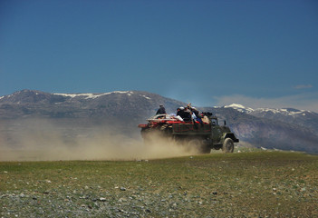 Mongolian people move to new place of life