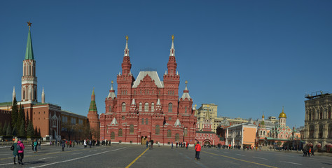 Moscow, Russia, - on March 29 2018/Panorama: Red Square, a view of the historical museum