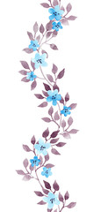 Seamless floral stripe border - hand painted watercolor cute flowers and leaves. Repeated pattern.