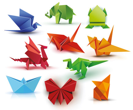Origami. A set of origami. Set origami butterfly, crane, frog, elephant, dragon, ship, dinosaur, fox. Paper set origami. Vector illustration Eps10 file