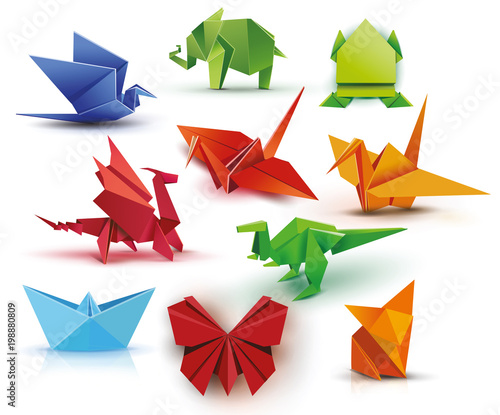Origami A Set Of Origami Set Origami Butterfly Crane Frog