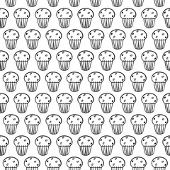 Cartoon cute cupcakes on white background. Simple seamless pattern. Linear coloring book.