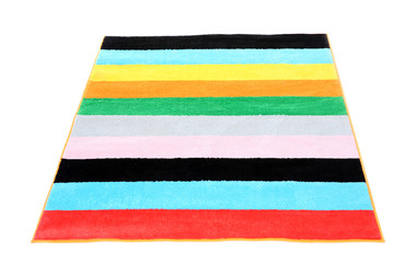 Colorful striped carpet on white background