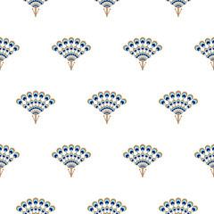 Peacock fan seamless vector pattern. Elegant minimal repeat texture.