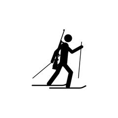 Silhouette biathlon athlete isolated icon. Winter sport games discipline. Black and white design  illustration. Web pictogram icon symbol for infographics
