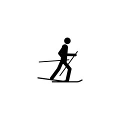 Silhouette Skier athlete isolated icon. Winter sport games discipline. Black and white design  illustration. Web pictogram icon symbol for infographics