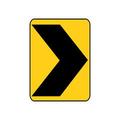 USA traffic road sign. a sharp right curve or turn. vector illustration