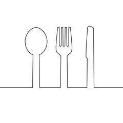 cutlery line symbol vector