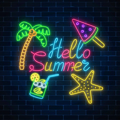 Neon summer poster with lettering and summer things in rectangle frame on dark brick wall background.