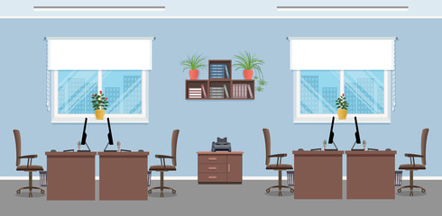 Workplace design with four workplaces, office furniture and windows. Office interior concept. Working indoor room.