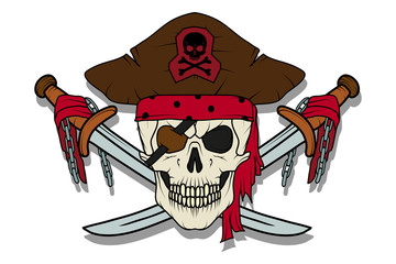 Skull pirate. Jolly Roger. The skull dressed in a bandana and a pirate bandage in one eye.