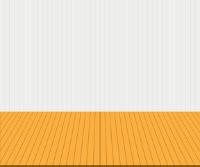 Empty yellow tabletop display over white wall background. Useful as backdrop, image montage for display products, or use as background for design key visual layout. Vector illustration, EPS10.