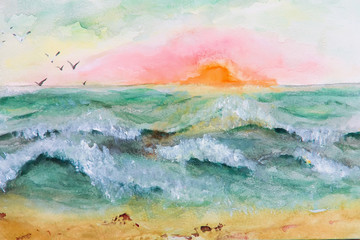 painting sunset at sea. Watercolor painting, Impressionism