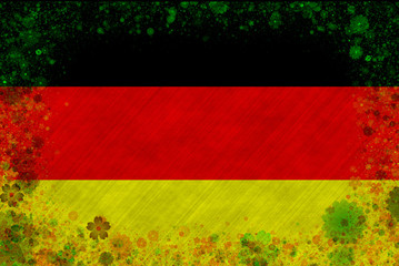 Illustration of German flag with a frame of blossom pattern