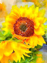 Beautiful Sunflower Watercolor Painting