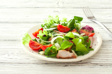 Fresh vegetables and chicken salad