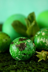 Quail and chicken eggs coloured green on the grass