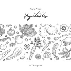 Organic food design template. Fresh vegetables. Hand drawn illustration frame with vegetables. Eco organic food. Great for label, design menu, recipes, poster, packaging design, wrapping paper.