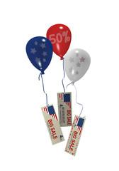 Luftballons in rot, blau und weiß mit Sale 50% und Werbebanner für den amerikanischen Unabhänigkeitstag. 3d render