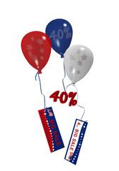 bunte Luftballons in rot, blau und weiß mit Sale 40% und Werbebanner für den 4. Juli. 3d render