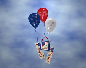 Luftballon mit Sternen, Sale 50%, Papiertasche und Werbebanner mit Wolkenhimmel für den 4. Juli. 3d render