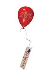 roter Luftballon mit Sale 20% und Werbebanner für den 4. Juli. 3d render
