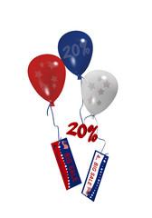 bunte Luftballons in rot, blau und weiß mit Sale Anhängern für den 4. Juli. 3d render